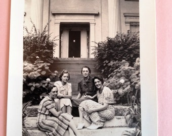 Greeting Card Vintage Photo Four Girl Freinds Seated on Steps Greeting Card and Envelope Blank Inside