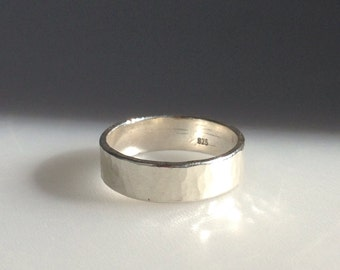 Customised Artisan Sterling Silver Hammered Wide Ring