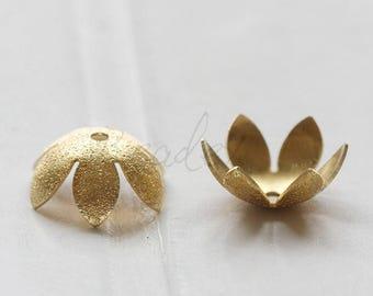 20 Pieces / Raw Brass / Brass Base / Flower / Bead Cap (C3575//V3)