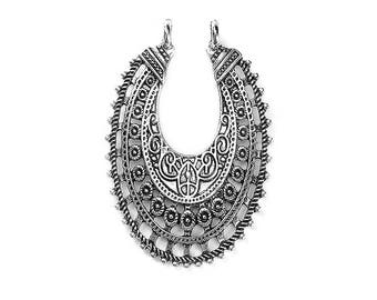 Magnificent oval ethnic connectors silver antique 53x36mm - SC0095130 - 5