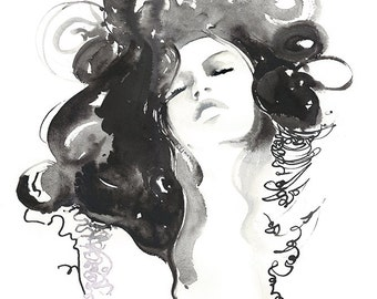 Black Ink Fashion Watercolor Print, Fashion Illustration Print, Fashion Art Print,  Fashion sketch, Black and white, fashion wall art