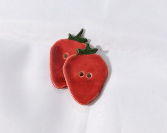 Ceramic Buttons - Strawberry Buttons - sold individually