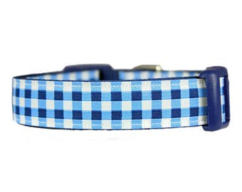 "Gingham Plaid 3/4"" or 1""  Blue Dog Collar"