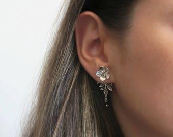 Stud Earring Jackets - Front Back Earrings - Silver Ear Jacket Earrings - Ear Jackets -  Ear Jacket Earrings - Front Beak Studs