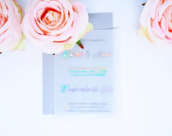 Vellum Transparent Wedding Invitation Set. Custom Foil Lettering with matching Envelope. Holographic, Iridescent.