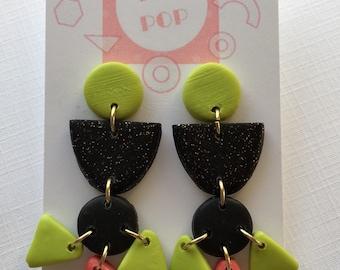 Bright Geometric Earrings-Dangle Earrings-Polymer Clay Earrings-Lime Green earrings black earrings jewelry gift handmade earrings funky