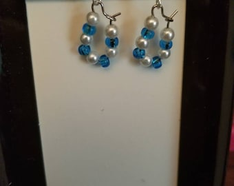 Blue and pearl colored bead earrings
