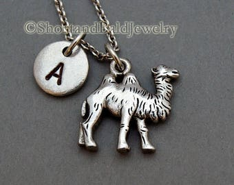 Camel charm Necklace, initial necklace, initial hand stamped, personalized, antique silver, monogram