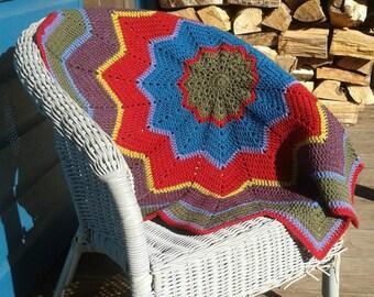 Crocheted Baby Blanket, Star Shaped Pram Blanket or Lap Blanket