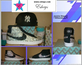 Half covered clear black rhinestone nike blazer sb with bling ny yankee hat