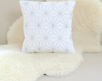 Geometric Star Pillow - Modern Gray & White