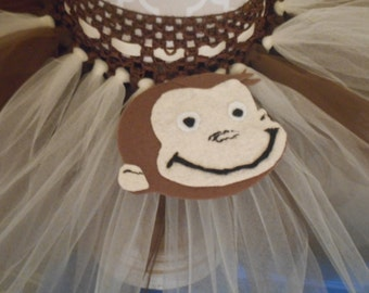 Curious Monkey  Inspired Brown & Ivory   8 Inch Tutu Skirt Birthday/Costume (RTS)