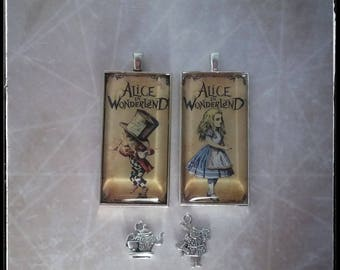 Choice of Alice in Wonderland 1x2 inch glass pendant necklace with charm