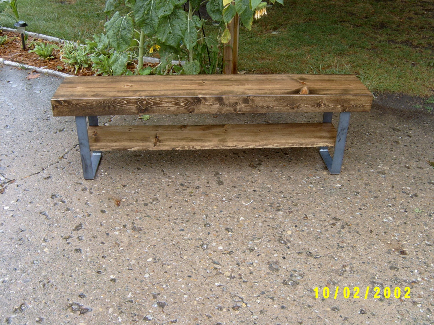 Bench Wooden Bench Coffee Table Industrial And Steel # Table Tv A Pied Unique But
