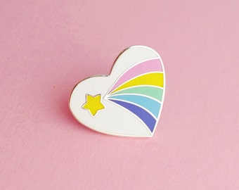 Pastel Rainbow Heart Enamel Pin Badge - Vintage Eraser Style Lapel Pin - Shooting Star