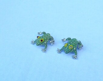 Frog Scatter Pins Bug Eyed Silvertone Lot of Two Very Good Condition
