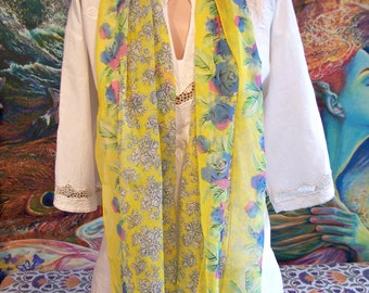 Long scarf, Floral scarf, Yellow scarf, Sheer scarf, Neck scarf, Vintage scarf