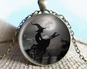 Halloween necklace Halloween pendant Witch Flying Across Full Moon, Necklace Halloween Jewelry, Halloween Pendant, Halloween jewelry, Black
