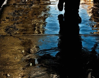 Footsteps in the Rain, NYC, Fine art, Photograph, New York, Puddle, Reflection, Abstract Photography, New York Photography