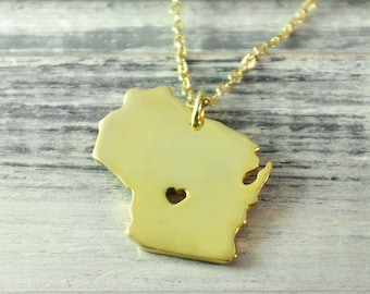 I  heart Wisconsin Necklace Wisconsin pendant 18K gold plated state necklace state pendant map pendant hammered state necklace