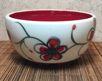 Red Plumflower Bowl - Hand Painted Porcelain Bowl with Red Plum Flower - Ceramic Cereal Bowl - Red Flowers - Cereal Bowl - Porcelain - Gift