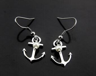 Traveler Gift, Travel Gift, Adventure Gift, Outdoors Gift, Anchor with White Pearl Earrings, Anchor Charm Dangle Earrings
