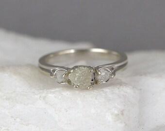 14K White Gold Raw Diamond Trio Ring - 3 Diamond Engagement Ring - April Birthstone Rings - Uncut Rough Raw Gemstone Rings- Anniversary Ring