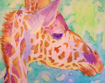 Saint Louis Zoo Giraffe Print (Bold Colorful Watercolor Painting on Canvas)