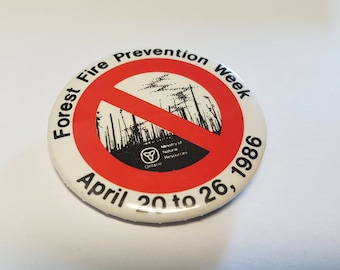 Vintage button forest fire prevention week