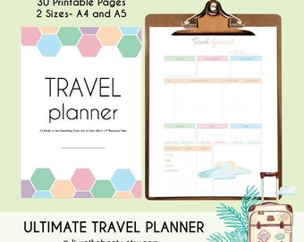 Travel Planner | 40 Printable Pages | A4 & A5 | Vacation Planner | Vacation Organizer | Travel Research | Packing list | Travel Journal