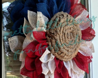 Burlap Sunflower Wreath - Fourth of July - Patriotic - Labor Day - Red, White and Blue