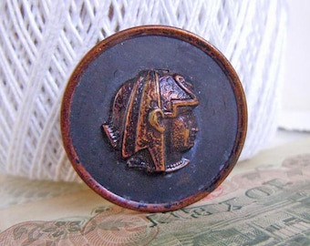 Antique Metal Cleopatra Egyptian Revival Picture Sewing Button