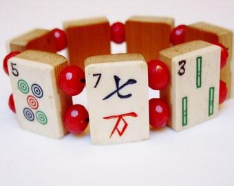 Bone and Bamboo Mah Jong Tile Bracelet / Vintage / Hand-carved / Dovetailed / Cherry Jade / Handmade / OOAK / Fun / Jewish Gift / Mah-Jong