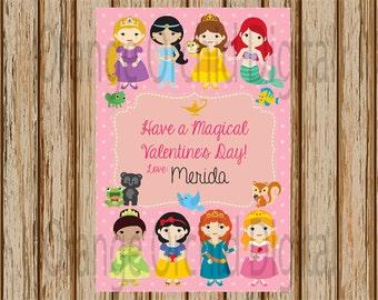 "INSTANT DOWNLOAD- Disney Princess Valentine Card- Princess Classroom Valentines- Blank Valentine Card- 4""x6"" size- Digital Item"