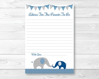 Elephant Mommy Advice Cards / Elephant Baby Shower / Chevron Pattern / Navy Blue & Grey / Baby Boy Shower / Printable INSTANT DOWNLOAD A219