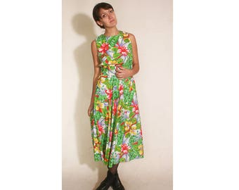 Vintage 1990s Tropical Calf Length Rafferty Hourglass Dress size 11