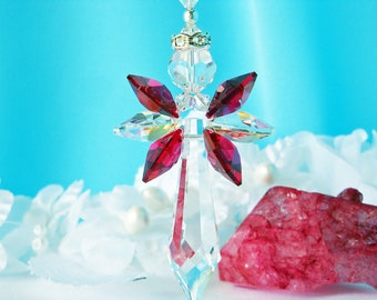 Red Guardian Angel Car Charm Swarovski Crystal Rear View Mirror Accessories Angel of Protection