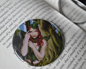 Pocket Mirror - The Green Faerie - Celtic Leprechaun Irish forest fairy