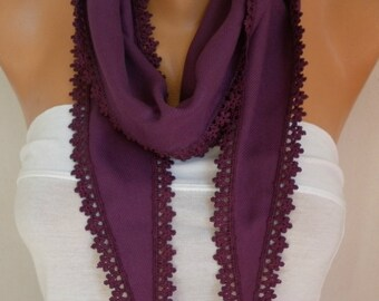 Plum Pashmina Scarf - Spring Scarf - Cowl Gift For Her mom,Women's Fashion Accessories,