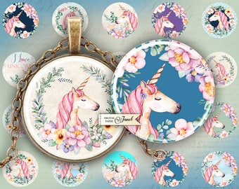 Unicorn - circles image - digital collage sheet - 1 x 1 inch - Printable Download