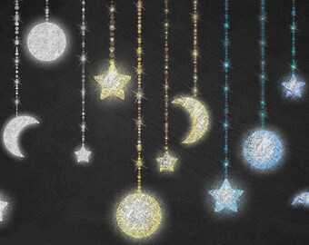 Chalkboard Celestial Clipart - Moon and Stars Chalk Strings Clip Art, Night Sky, Starry Sky, Digital Background Instant Download