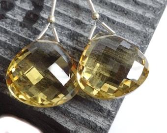 Honey Quartz Heart Briolette, MATCHED PAIR 17.80 x 17.63 approx, Large Quartz Briolettes, Focal Gemstone Beads,