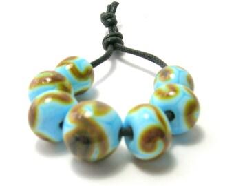 Pale Blue /Brown Squiggle Bead Set - Handmade Lampwork Glass Beads