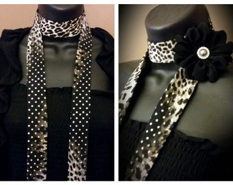 Black Brown Tan Cream Grey mixed with Polka Dots Animal Print Skinny Scarf with Black Flower Neck Tie Fabric Necklace Choker