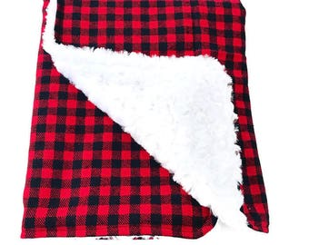 Buffalo Plaid Baby Blanket. Lumberjack Baby. Plaid Baby Blanket. Faux Fur Baby Blanket. baby Shower Gift. BizyBelle