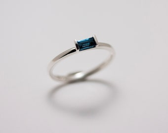 Sterling Silver London Blue Topaz Minimalist Baguette Stack Ring
