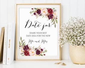 Date Jar Sign, Date Night Jar, Date Night Sign, Date Night Ideas, Date Ideas, Date Night Sign, Date Sign, Wedding Sign, Marsala Wedding
