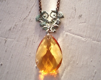 Amber and Patina Necklace