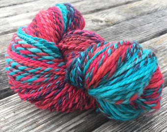 Red Hot and Blue Hand Spun Polwarth Wool/Tussah Silk Yarn