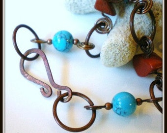Turquoise Colored Howlite and Copper Chain Necklace, Chunky Red Stone Beads,  Handmade Spiraled Copper Links Chain, Blue and Red Necklace